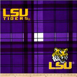 Louisiana State University Fleece Plaid Purple Fabric
