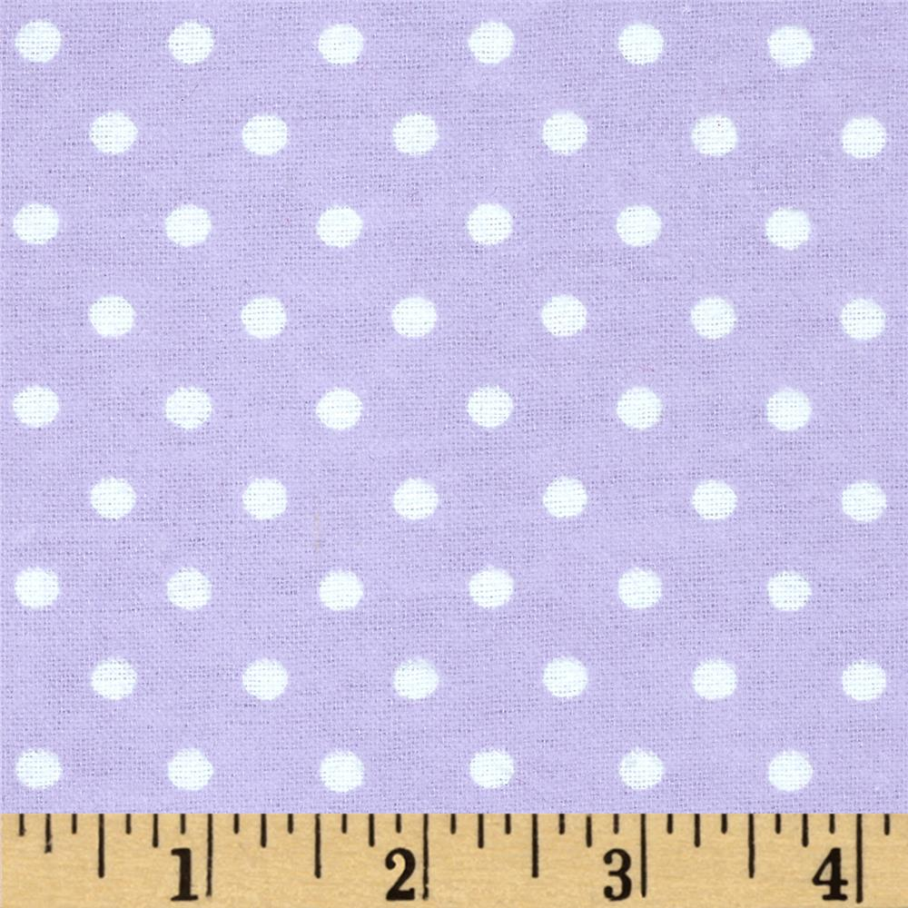 Aunt Polly's Flannel Small Polka Dots Lavender/White