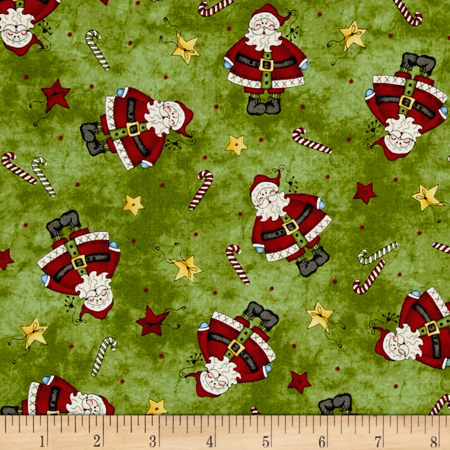 Just Be Claus Tiny Santa Green Fabric by E. E. Schenck in USA