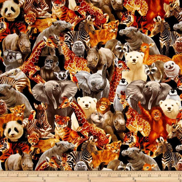 Timeless Treasures Baby Zoo Animals Natural