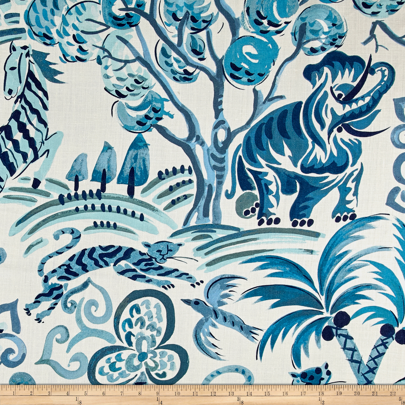 Clarence House Linen Congo Blues Fabric