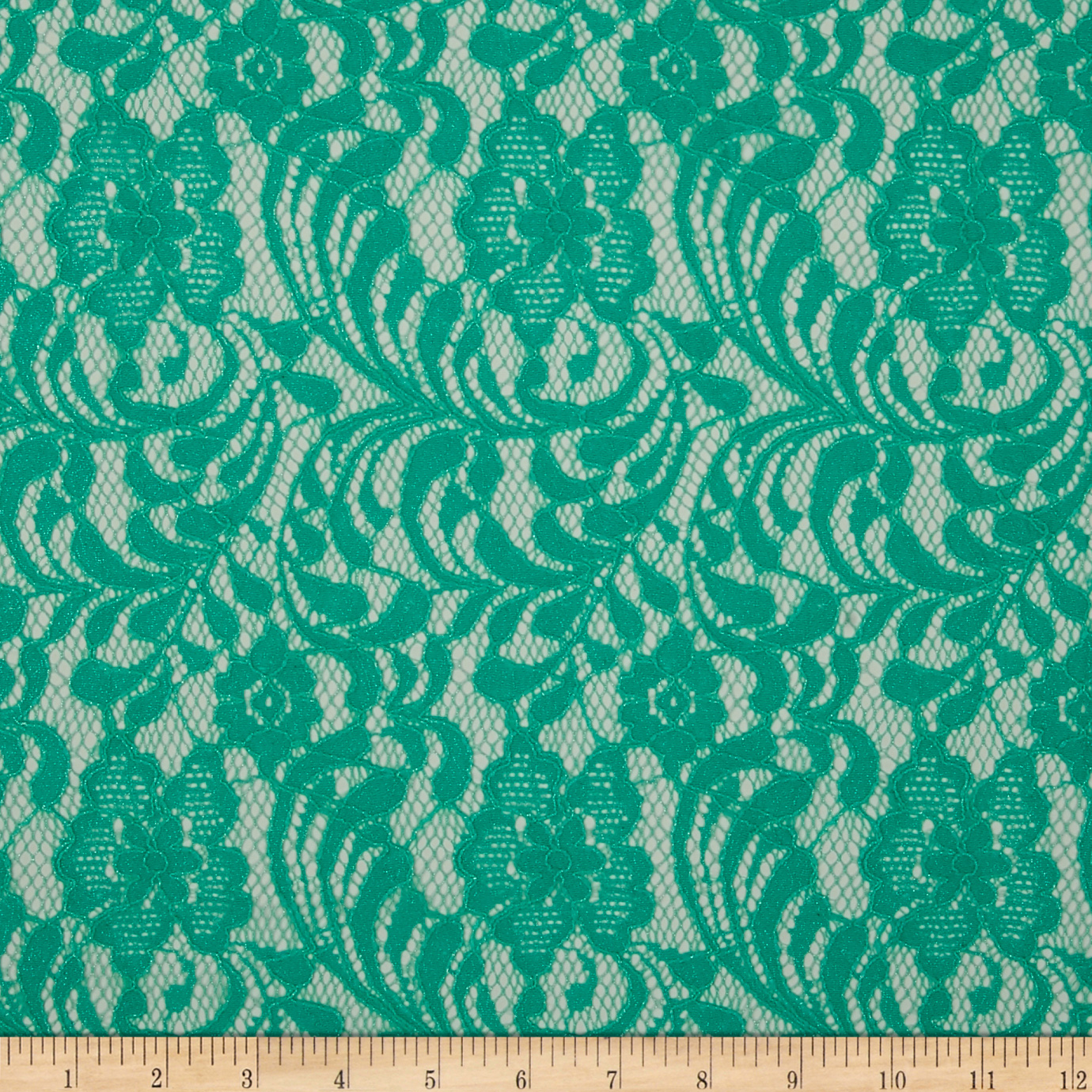 Floral Glitter Lace Light Mint Fabric