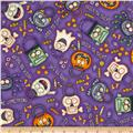 A Haunting We Will Go Halloween Motifs Purple