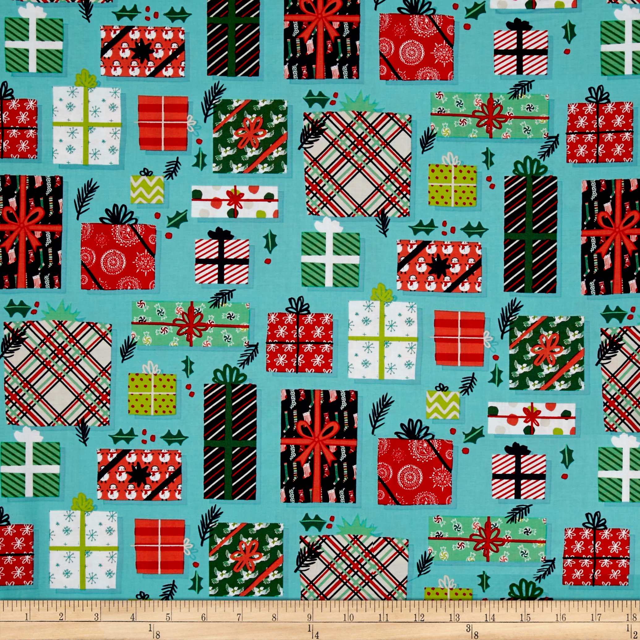 Image of 25 Days of Christmas Gifts Packages Light Teal Fabric