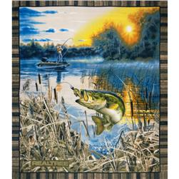 Realtree Fleece Fish Panel Blue Fabric