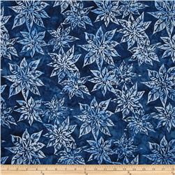 Bali Batiks Handpaints Poinsettias Navy