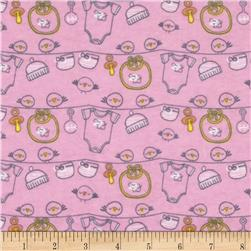 Bundle Of Joy Flannel Baby Bird Pink Fabric