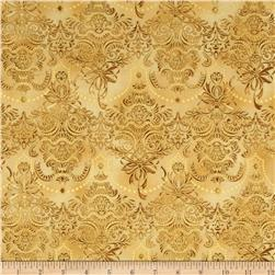 Holiday Flourish 7 Metallic Damask Gold