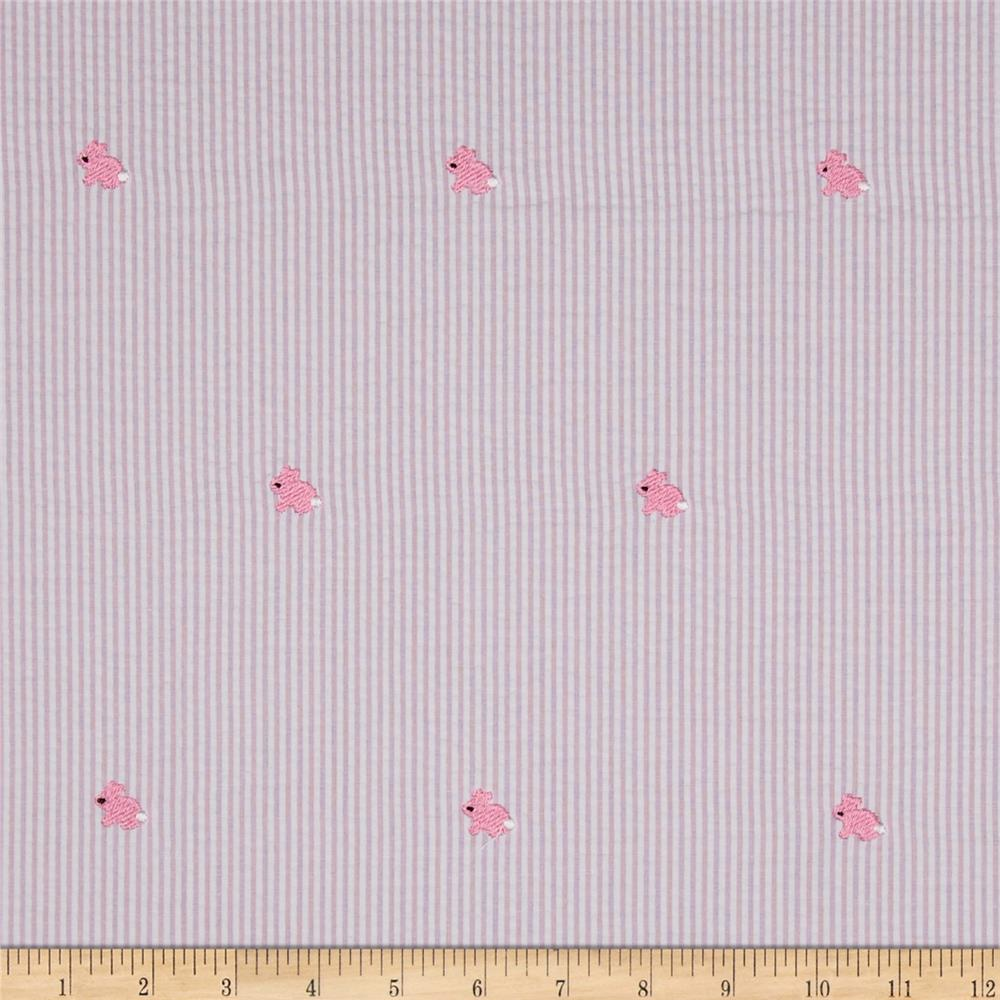 Embroidered Seersucker Bunnies Pink/White