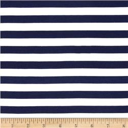 Riley Blake Jersey Knit 1/2'' Stripes Navy Fabric