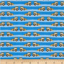 Fabric Freedom Construction Road Grader Stripe Blue