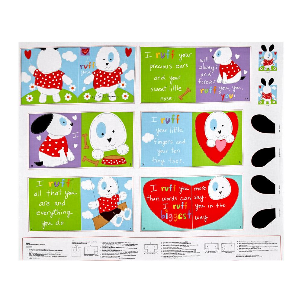 Huggable & Loveable I Ruff You Soft Book Panel Fabric
