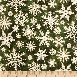 Christmas In The Woods Snowflakes Green