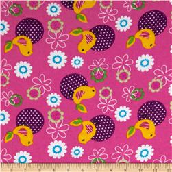 Camelot Flannel Song Birds Pink