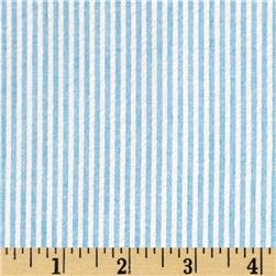 Cotton Seersucker Stripe Turquoise/White