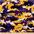 Collegiate Cotton Broadcloth Louisiana State University Camouflage