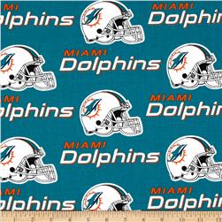 NFL Cotton Broadcloth Miami Dolphins Turquoise/Orange Fabric