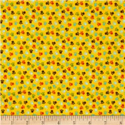 Comfy Flannel Paw Prints Yellow
