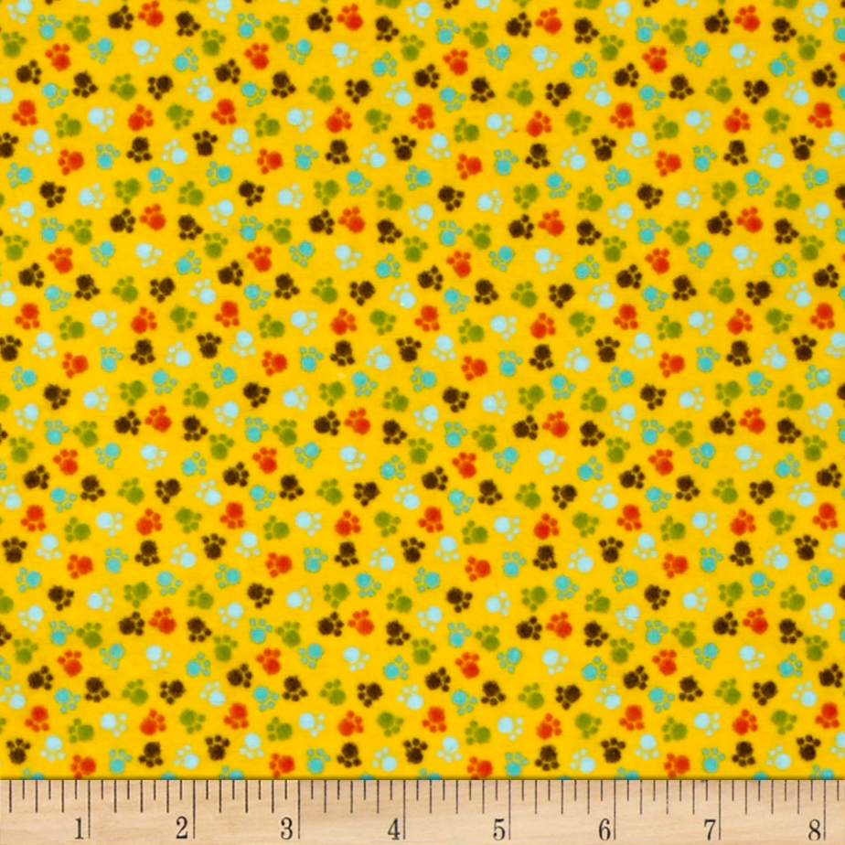 Comfy Flannel Paw Prints Yellow Fabric