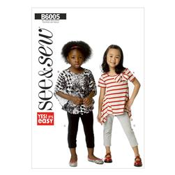 Butterick Children's/Girls' Top and Leggings Pattern B6005 Size 0A0