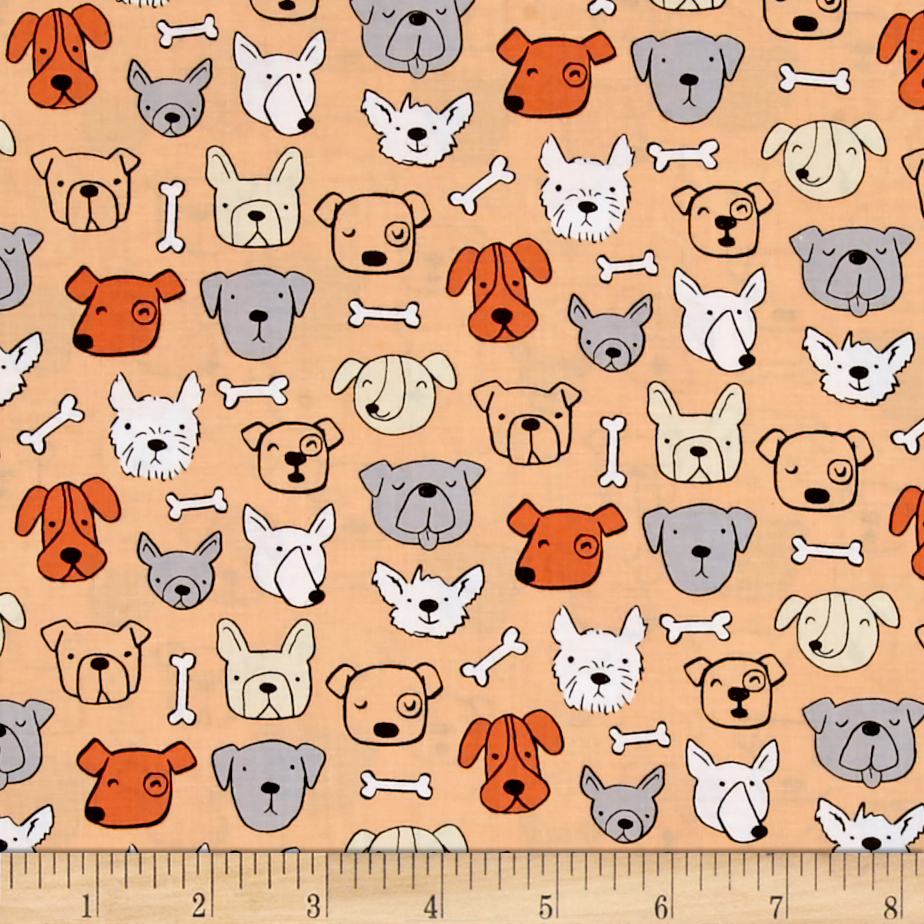 Dog Lover Dog Portrait Light Orange Fabric