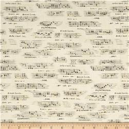 All That Jazz Metatllic Sheet Music Grey Fabric