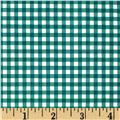 Fleece Backed Tablecloth Gingham Green