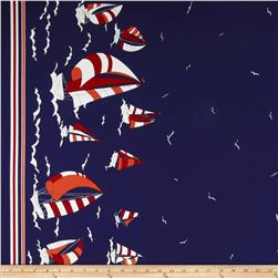 Kokka Trefle Canvas Nautical Border Print Blue Fabric