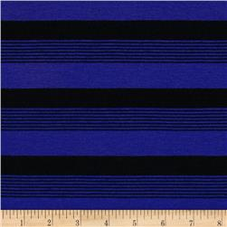 Yarn-Dyed Poly Jersey Knit Stripe Black/Royal