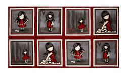 "Letters From The Heart Girl Picture Patches 23.5"" Panel Cranberry"