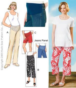 Kwik Sew Maternity Pants, Shorts & Jeans Panel Pattern