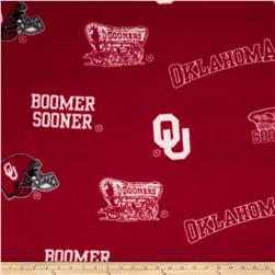 Collegiate Fleece University of Oklahoma Allover Crimson Fabric