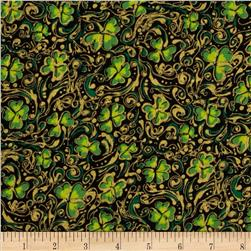 Shamrock Celebration Metallic Shamrocks Black Fabric