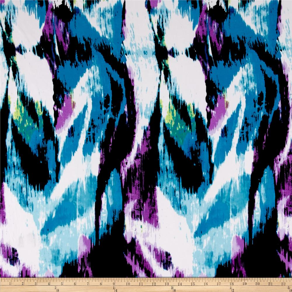 Stretch ITY Jersey Knit Reese Turquoise Purple