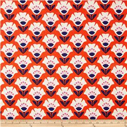 Cloud 9 Organic Holding Pattern Barkcloth Garden Variety Orange