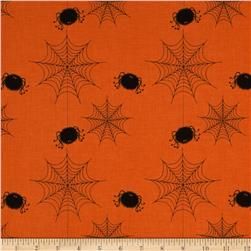 Riley Blake Holiday Banners Spider Webs Orange Fabric