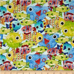 Under the Sea Packed Fish Blue Fabric