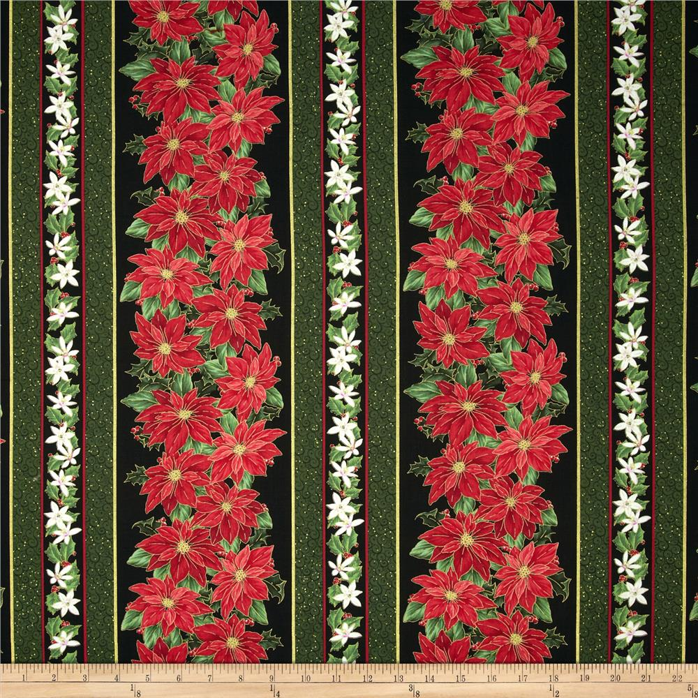 Christmas Star Decorative Border Stripe Black/Red