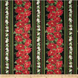 Christmas Star Decorative Border Stripe Black/Red Fabric