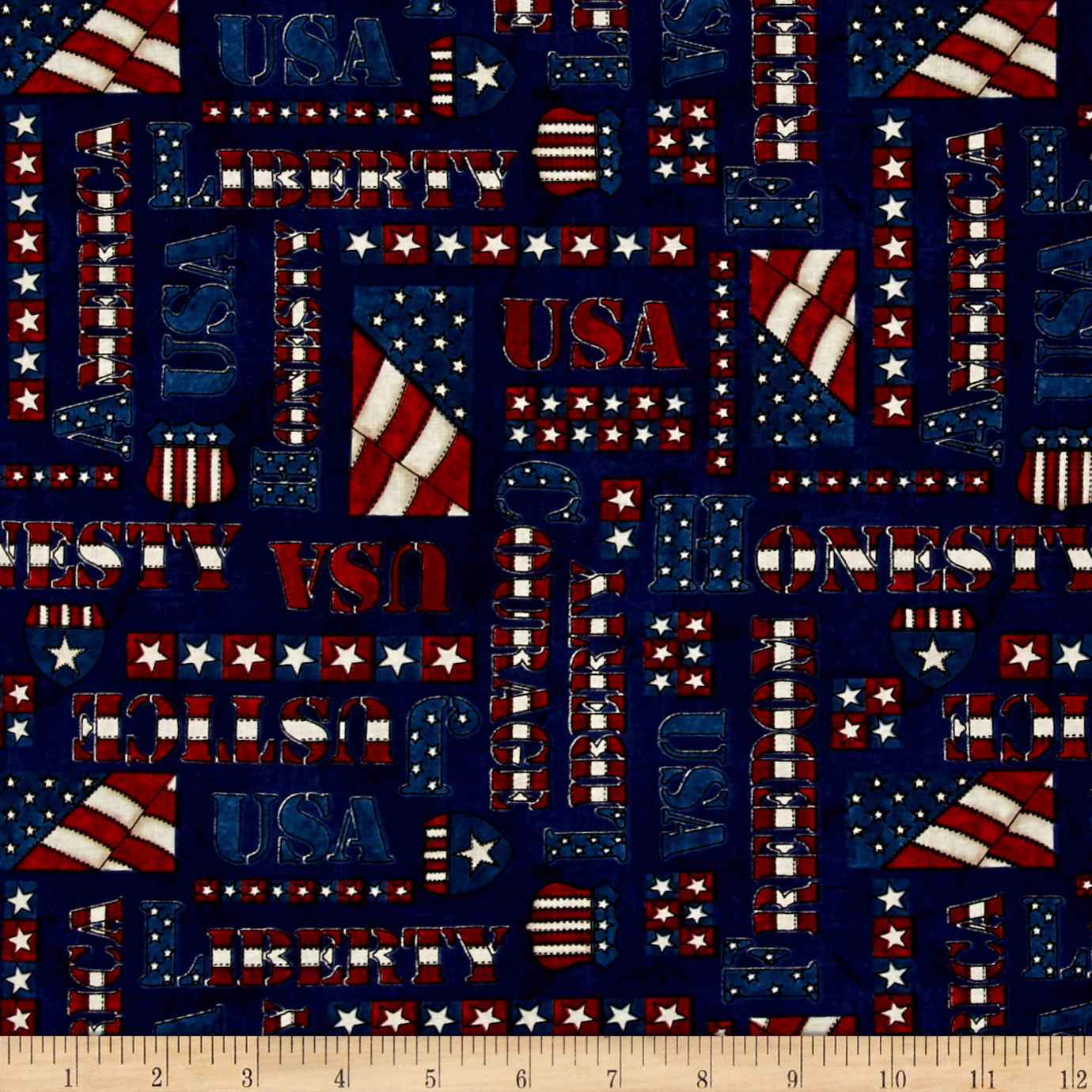 American Honor Words Blue Fabric by Stardom Specialty in USA