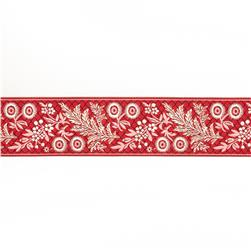 "1 1/2""French General Ecru Garland on Red"
