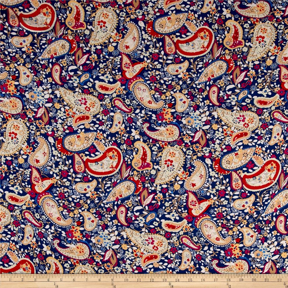 Rayon challis paisley print navy fuchsia discount for Patterned material fabric
