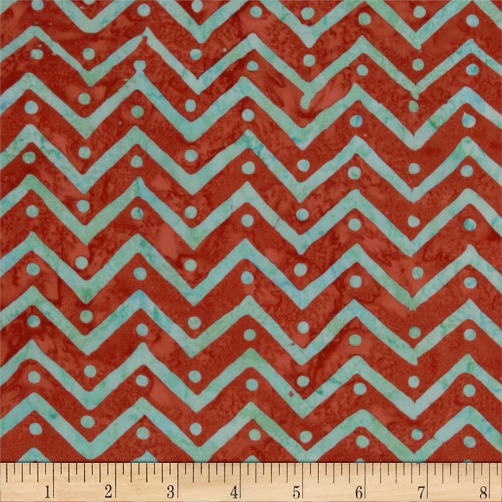 Moda Bobbins & Bits Batiks Pinked Edges Red/Aqua