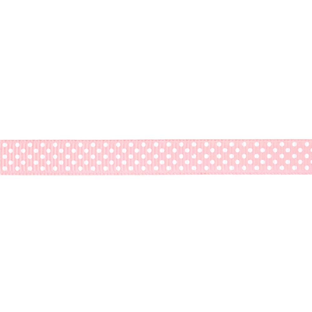 "Riley Blake 3/8"" Grosgrain Ribbon White Dots Baby Pink"
