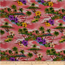 Hoffman Tropical Collection Small Floral Pink Fabric