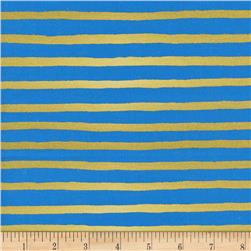 Cotton + Steel Rifle Paper Co. Wonderland Metallic Cheshire Stripe Cobalt
