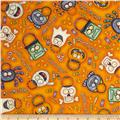 A Haunting We Will Go Halloween Motifs Orange