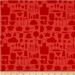 In The Kitchen Kitchenware Silhouette Red
