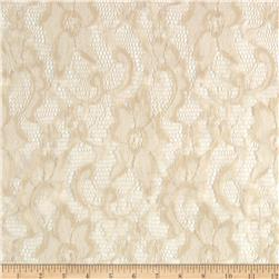 Shimmer Stretch Lace Floral Ivory
