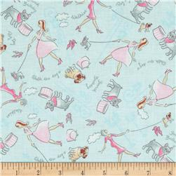 Paws & Play Walk the Dog Blue Fabric